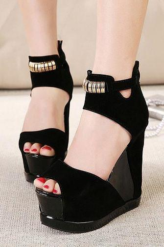 Black Platform Peep Toe Sandals