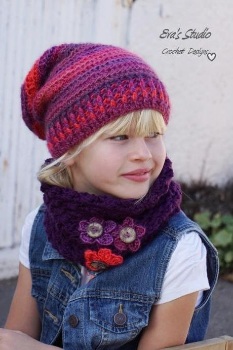 Crochet Children's Hat and Neck Warmer, Crochet Set, Pattern PDF, Hat Crochet Pattern ,Pattern No. 78