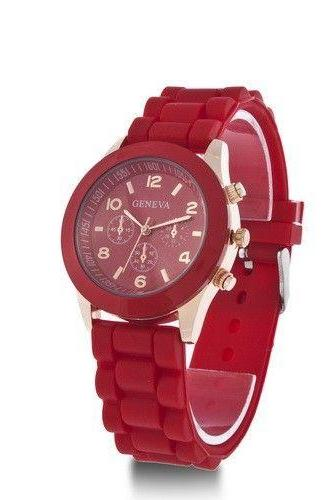 Rubber Strap red Casual Quartz Woman Watch