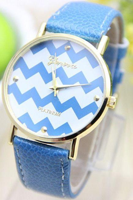 Stripes blue Dial Party Holiday Gift Woman Watch