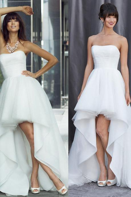 WD230 Romantic Wedding Dress,High/Low Wedding Dress,Tulle Wedding Dress