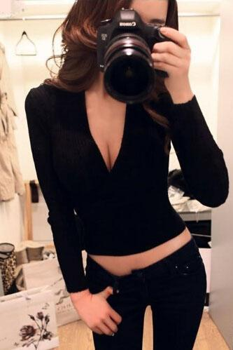 Sexy V-Neck Long-Sleeved T-Shirt
