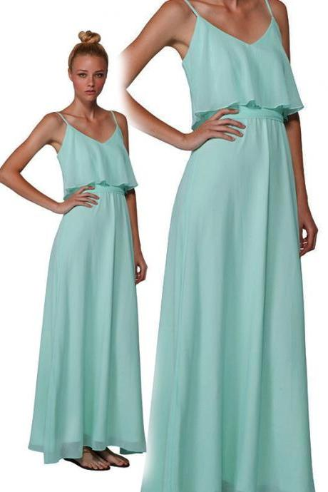 Bd226 Chiffon Bridesmaid Dress,Long Bridesmaid Dress,A-Line Bridesmaid Dress