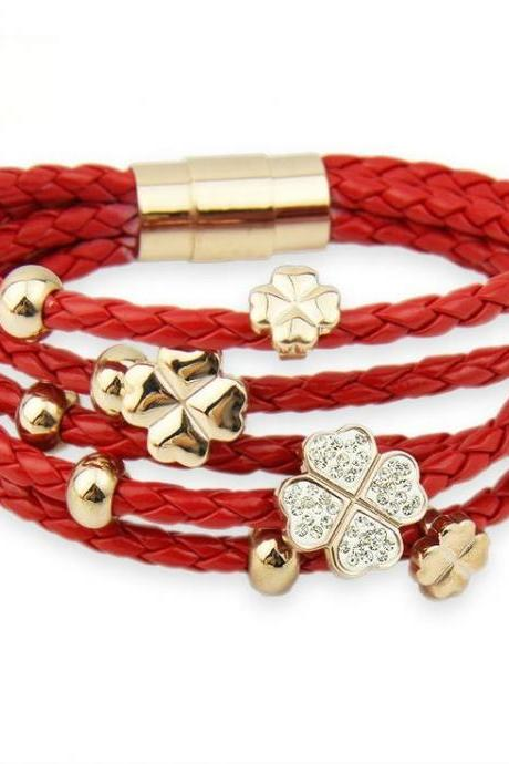 Multilayer rhinestones red flowers rope casual girl bracelet