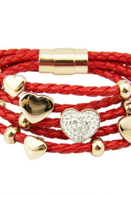 6 layers rope heart red pendants casual teen girl bracelet