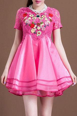 new fashion Sexy Embroidery Flower Short Sleeve Layered Lace Bodycon Flare Dress