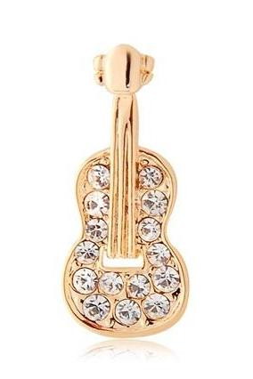 DINGYA Stellux Austrian Crystal Decorated Guitar Shaped Collar Brooch (Golden)