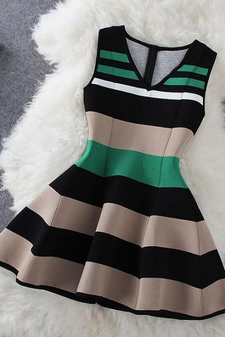 New Fashion Stripe Sleeveless V-Neck Dress