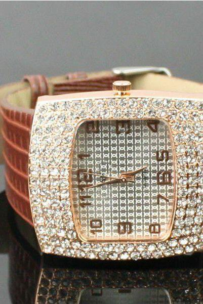 Luxury Lady brown Rectangle Woman Watch
