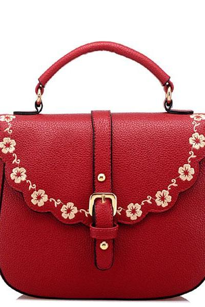 Buckle Embroidery Shoulder Bags
