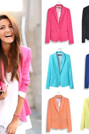 Slim Lapel Candy Color Suits Coats