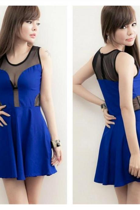 Blue Gauze Design Sleeveless Skater Dress