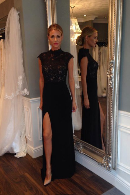long maxi New Elegant black lace party evening night Dress