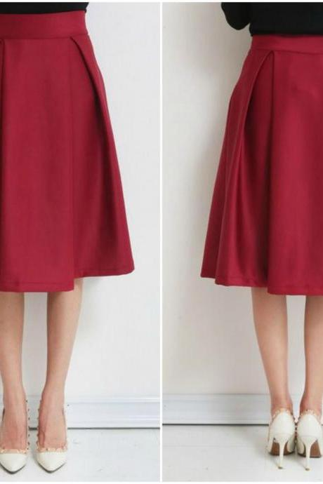 Burgundy High Waist Knee Length A-Line Gathered Skirt