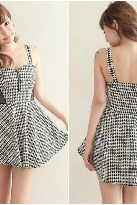 Hounds Tooth Pattern Gauze Splice Sleeveless Dress