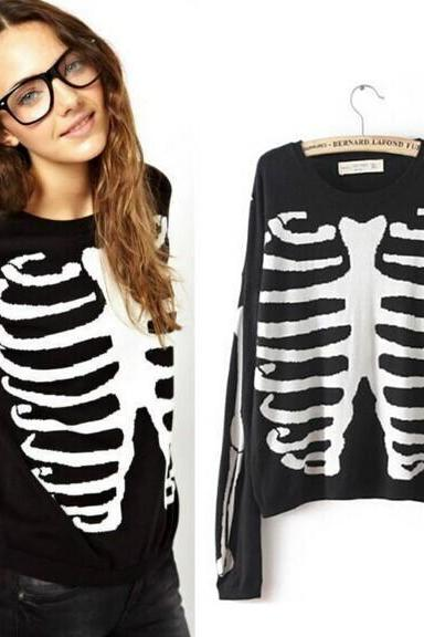 Skull bones mercerized cotton knit sweater