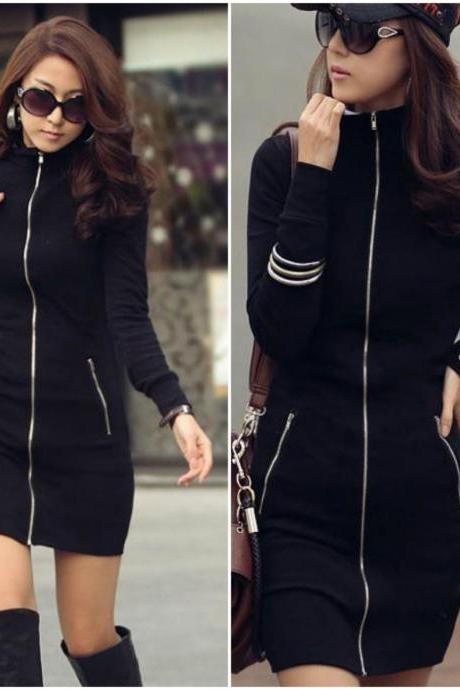 Black Long Sleeve Zip Up Front Mini Dress