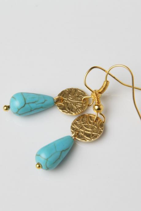 Dainty Turquoise Earrings, Delicate Turquoise Drop Earrings, Turquoise Jewelry, Turquoise and Gold, Made in Canada, gypsy earrings, gift
