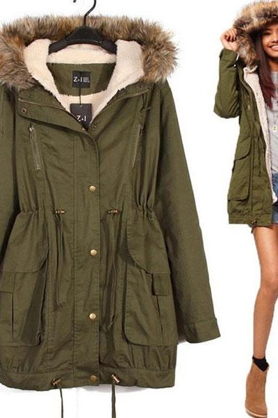 Fresh Army Green Drawstring Long Fur Coats