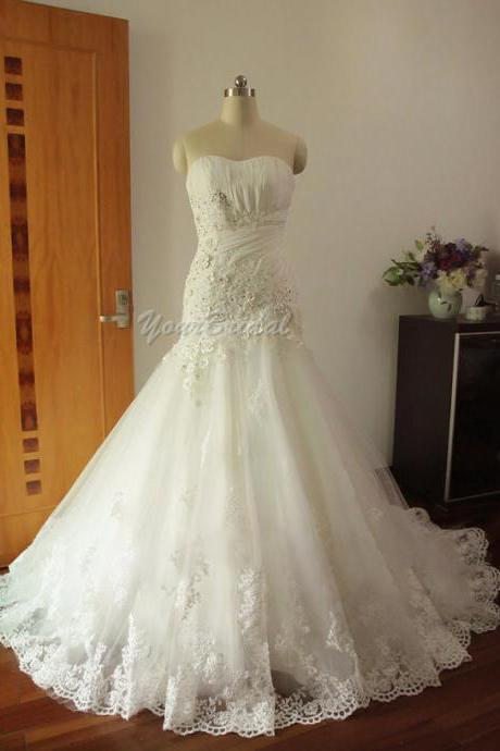 Custom Size Made Floor Length Tulle and Lace Mermaid/Trumpet Wedding Dress Bridal Dress Wedding Gown