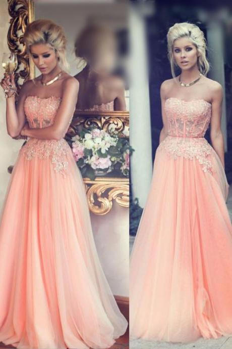 Pd257 Elegant Prom Dress,A-Line Prom Dress,Strapless Prom Dress,Appliques Prom Dress