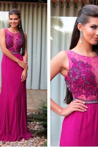 Pd259 Elegant Prom Dress,A-Line Prom Dress,Appliques Prom Dress,Chiffon Evening Dress