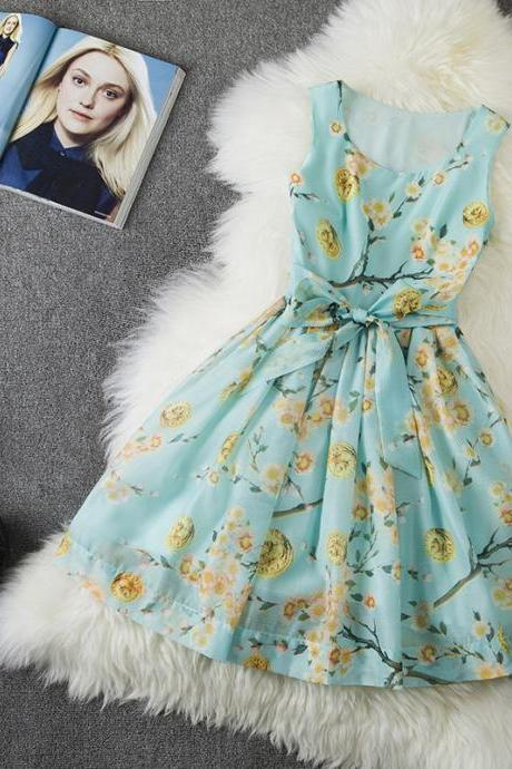 Fashion Print Bow Dress