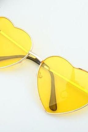 Heart-shaped yellow Valentine gift reflective lenses girl sunglasses