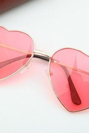 Heart-shaped rose Valentine gift reflective lenses girl sunglasses