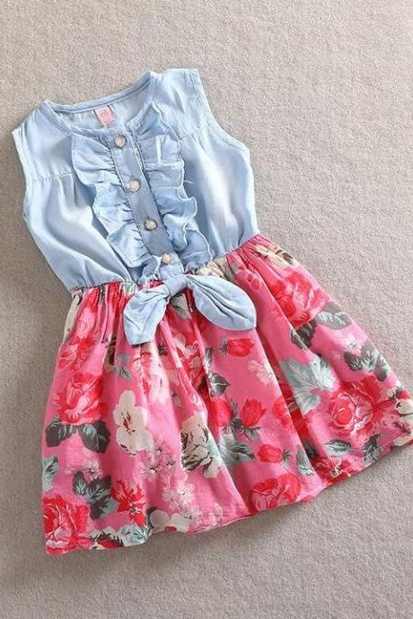 Printed Denim Floral Summer and Spring Sleeveless Dress for Toddler Girls