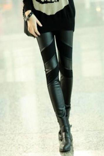 Cute Black PU Splice Leggings