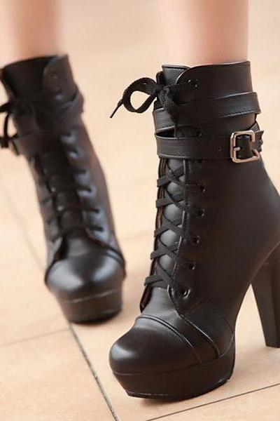 Spring Autumn Round Toe Lace Up Chunky High Heels Black Leather Short Buckle Martens Boots
