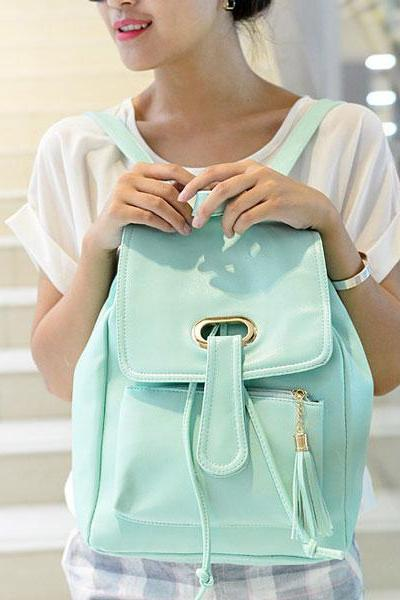 Buckle Tassel Student Bag Backpack