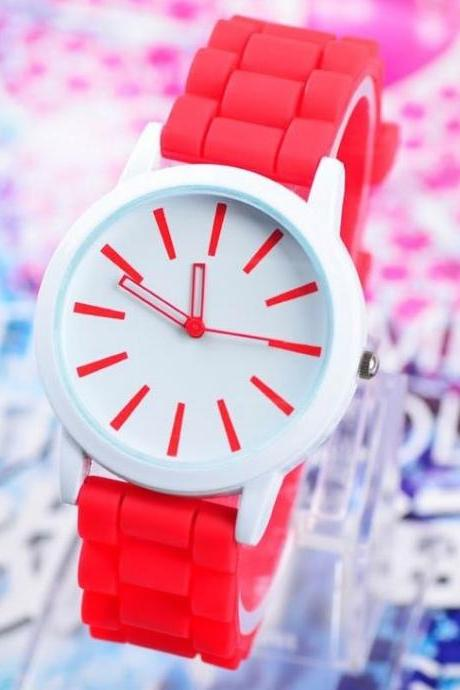 Rubber Trendy red Teenage Girl Watch