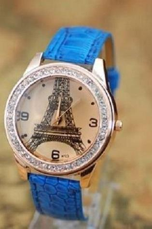 Paris fashion blue watch with rhinestones