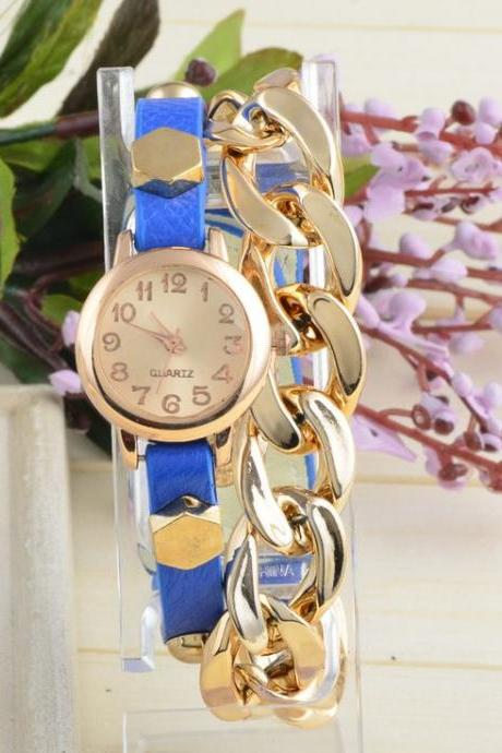 Thin Leather blue Strap Chain Decor Woman Watch
