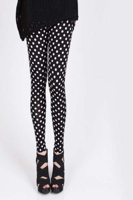 Black Polka dots Leggings