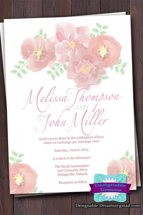 Water Colour Flowers - Wedding Invitation Set