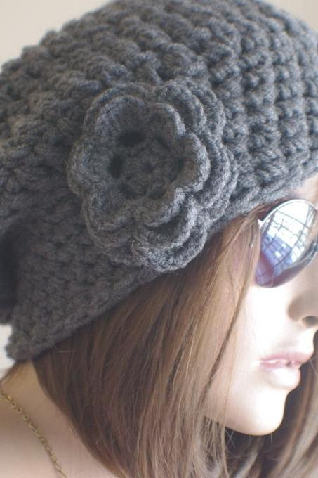 Womens hat - chunky knit Slouchy DARK GRAY Beanie Slouch Hat Fall Winter Accessories Beanie Autumn Christmas Fashion