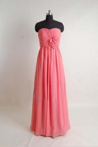 Long Handmade Lovely Coral Sweetheart Bridesmaid Dresses, Simple Bridesmaid Dresses, Coral Prom Dresses, Formal Dresses