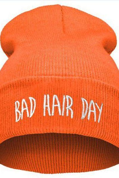 Bad Hair Day Print orange Teen Winter Unisex Hat