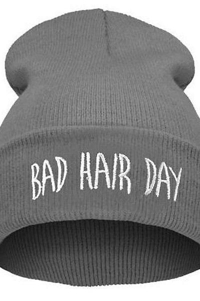 Bad Hair Day Print gray Teen Winter Unisex Hat