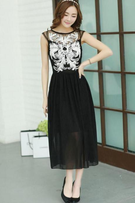 Fashion Women's Elegant Black Chiffon Embroidery Floral Dress