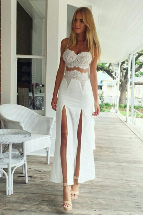 Sexy High Vented Lace Stitching Two-Piece Outfit