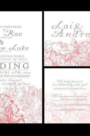 100 sets Personalized Wedding Invitations /fully customized to your wedding, hydrangea invite