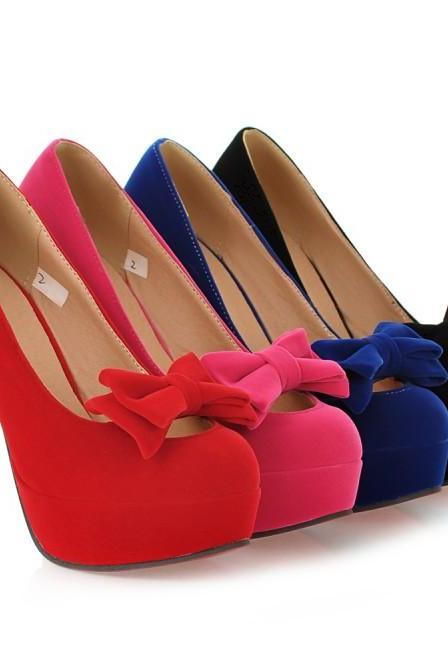 Cute Bow Design Pumps In 4 Colors