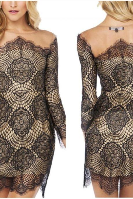 Sexy Off Shoulder Long Sleeve Sheath Lace Dress