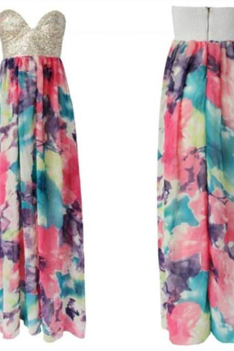 Fabulous Strapless Floral Print Maxi Dress