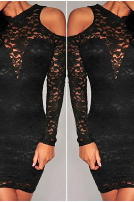 Sexy Off The Shoulder Black Lace Dress