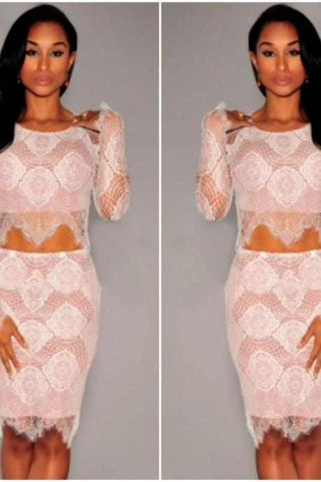 Gorgeous Two Piece Lace Top And Skirt Set In White